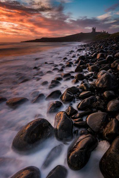 dunstanburgh castle, castle, england, united kingdom, north sea, sunrise