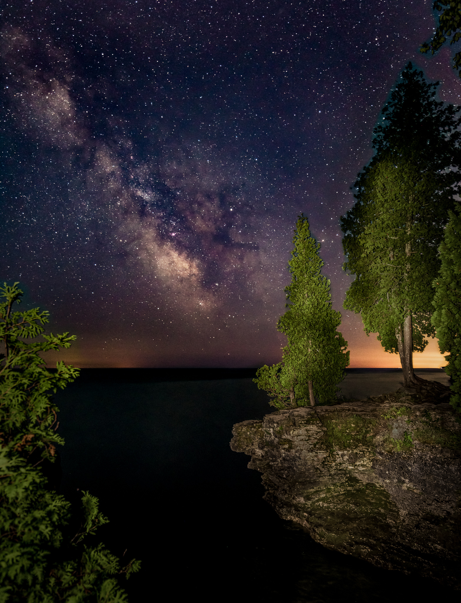 cave point county park, astrophotography, night sky, milky way, sturgeon bay, door county