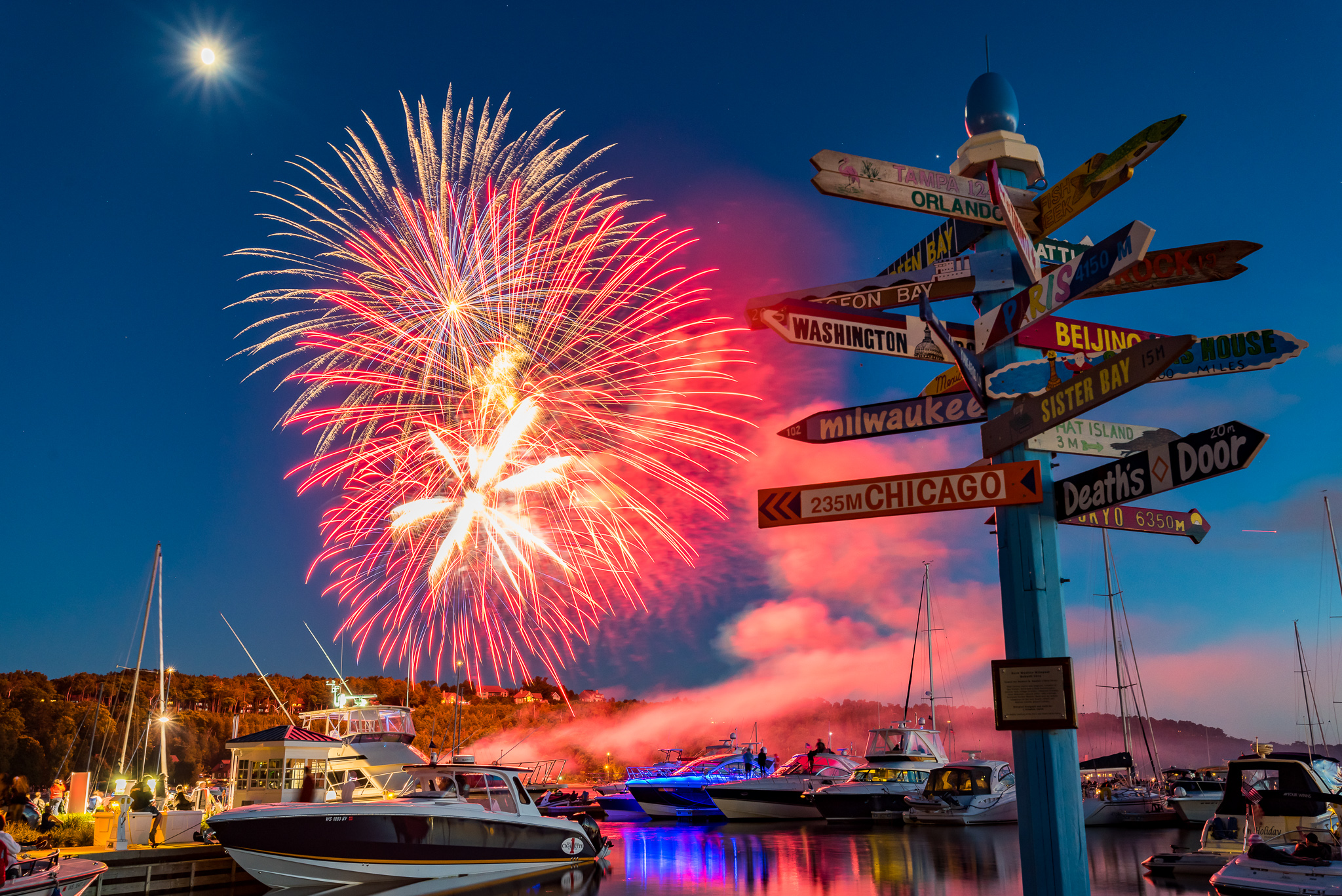 Fireworks in Egg harbor, Door County, Wisconsin
