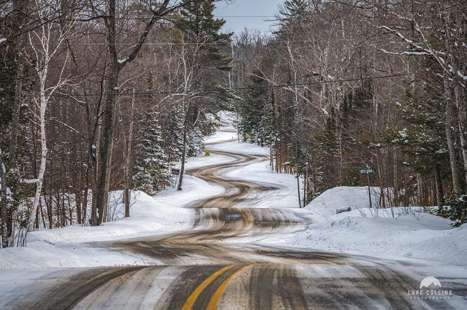 winding road in winter